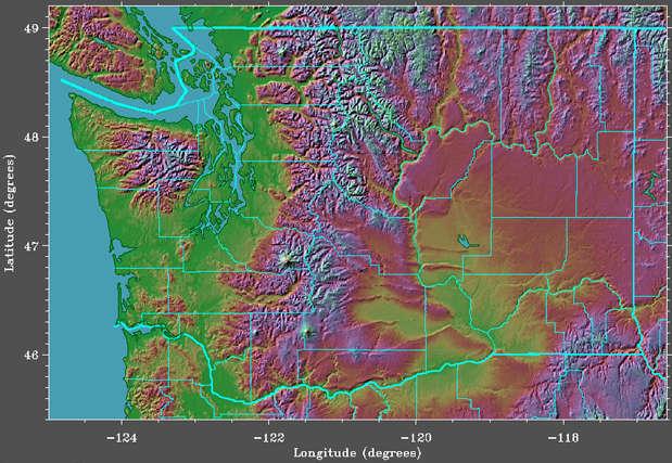 GETREAL Washington State Satellite Image  Elevation