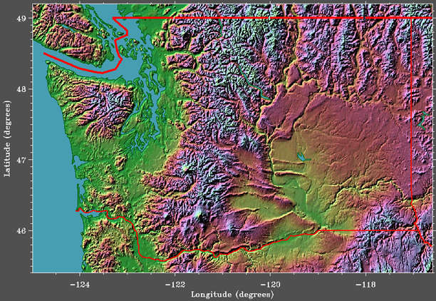 GETREAL: Washington State Satellite Image   Elevation